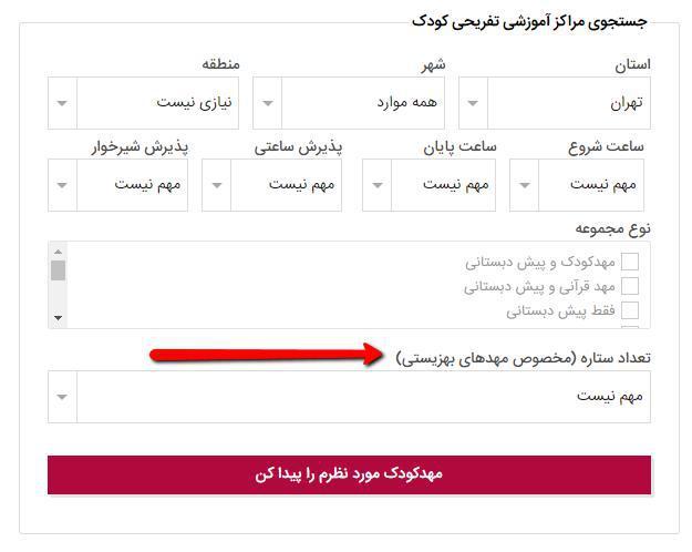 لیست مهد کودک های تهران